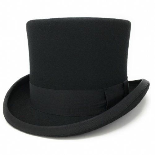 Black Traditional Top Hat - Wool Felt